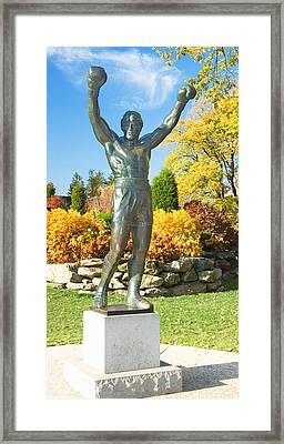Statue Of Rocky Balboa In A Park Framed Print