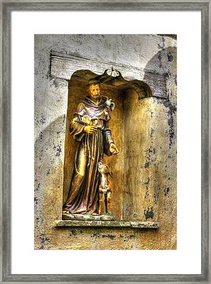 Statue Of Saint Francis Of Assisi - Alcove In The Gardens Of The Carmel Mission Framed Print by Michael Mazaika