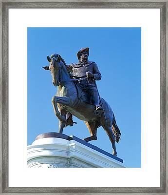 Statue Of Sam Houston Pointing Towards Framed Print
