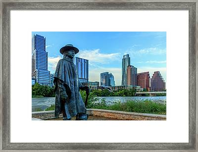 Statue Of Stevie Ray Vaughan Framed Print by Panoramic Images