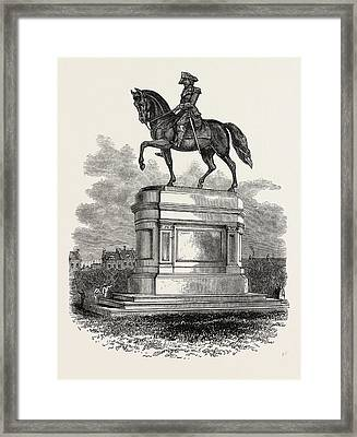 Statue Of Washington At Boston, United States Of America Framed Print by American School