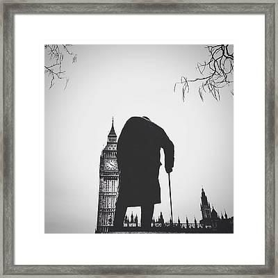 Statue Of Winston Churchill With Big Ben Framed Print by Gera Heusen / Eyeem