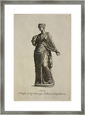 Statue Of Woman In Classical Robes Framed Print