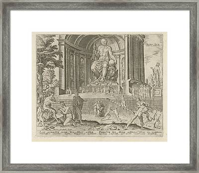 Statue Of Zeus At Olympia, Philips Galle Framed Print by Philips Galle And Hadrianus Junius