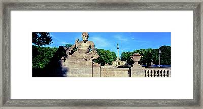 Statue On Luitpold Bridge And Angel Framed Print by Panoramic Images