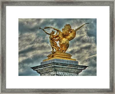 Statue On Pont Alexandre IIi Framed Print
