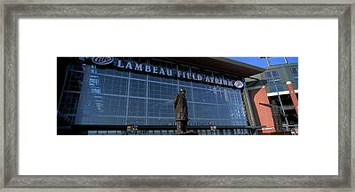 Statue Outside A Stadium, Lambeau Framed Print by Panoramic Images