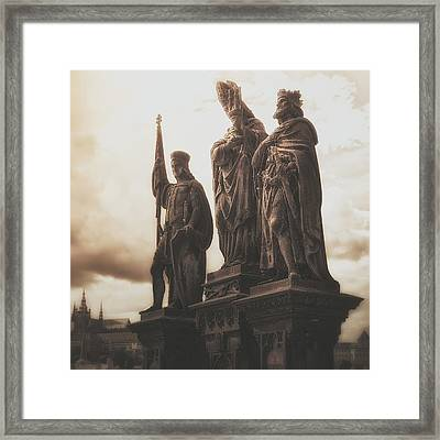 Statues Along Karl Bridge  Prague Framed Print by Robert Schenck