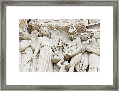 Statues Depicting The Judgment Framed Print
