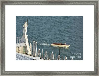 Statues Of Doges Palace Facing The Lagoon Framed Print by Sami Sarkis