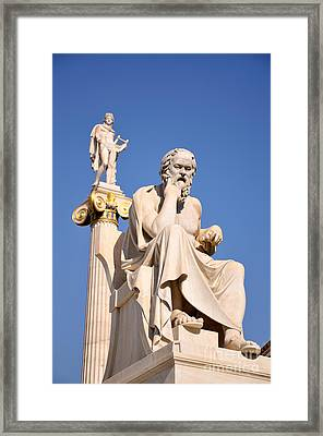Statues Of Socrates And Apollo Framed Print