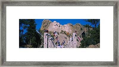 Statues On A Mountain, Mt Rushmore, Mt Framed Print by Panoramic Images