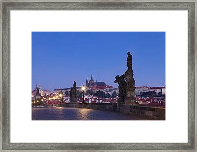 Statues On Charles Bridge With Castle Framed Print by Panoramic Images