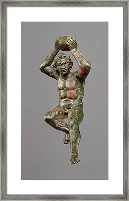 Statuette Of A Giant Hurling A Rock Unknown 200 - 175 B Framed Print