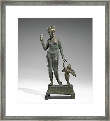 Statuette Of Aphrodite And Eros On A Base Unknown Probably Framed Print by Litz Collection