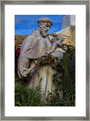 Stature Of Father Junepero Serra  Framed Print by Garry Gay