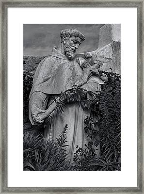 Stature Of Father Junepero Serra  In Black And White Framed Print by Garry Gay
