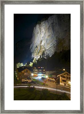 Staubbach Falls At Night In Lauterbrunnen Switzerland Framed Print