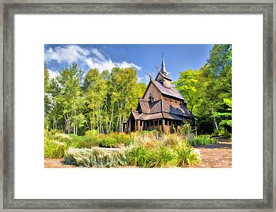 Stavkirke Church On Washington Island Door County  Framed Print