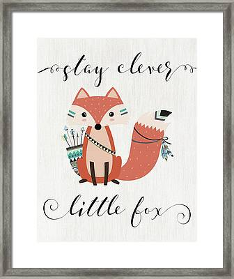Stay Clever Little Fox Framed Print