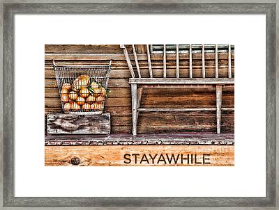 Stayawhile Framed Print by Diana Sainz