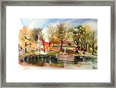 Ste. Marie Du Lac With Gazebo And Pond II Framed Print by Kip DeVore