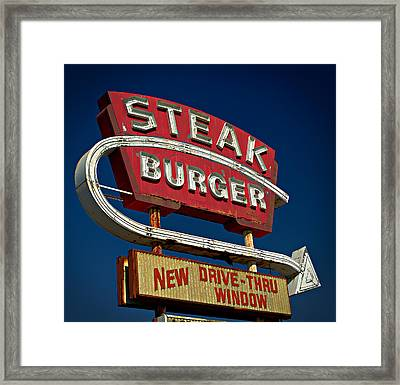 Steak Burger Framed Print