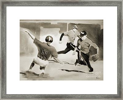 Stealing Second Bw Framed Print by Kip DeVore