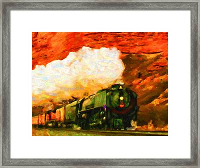 Framed Print featuring the digital art Steam And Sandstone by Chuck Mountain