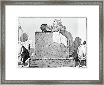 Steam Bath, Satirical Artwork Framed Print