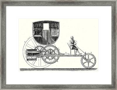 Steam Car Driving On Ordinary Roads Built In 1801 Framed Print