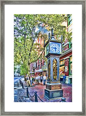 Steam Clock In Vancouver Gastown Framed Print by David Smith
