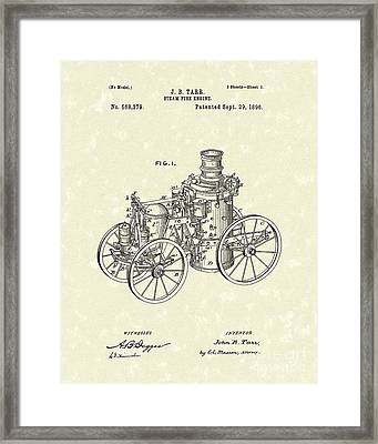 Steam Engine 1896 Patent Art Framed Print by Prior Art Design