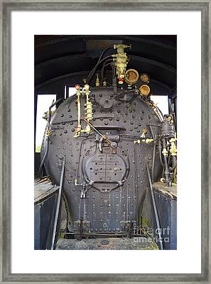 Steam Engine 444 Fire Box And The Controls Framed Print by Kim Pate
