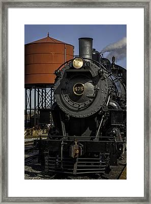 Steam Engine #475 Pulling Into The Strasburg Rr Station  01 Framed Print by Mark Serfass