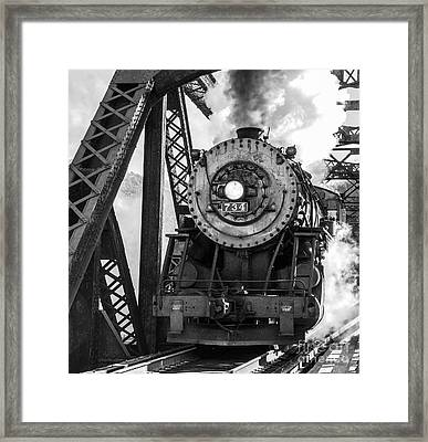 Steam Engine 734 Leaving The Narrows Framed Print