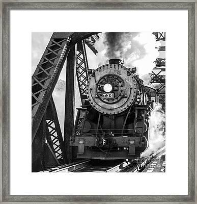 Steam Engine 734 Leaving The Narrows Framed Print by Jeannette Hunt