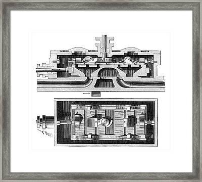 Steam Engine Valve Framed Print by Science Photo Library