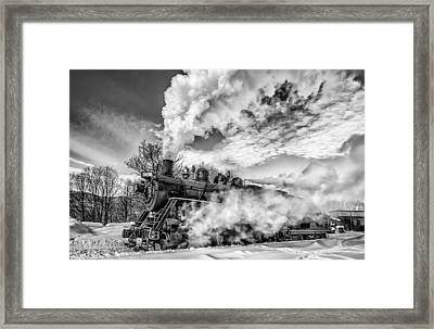 Steam In The Snow Black And White Version Framed Print