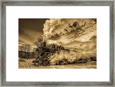 Steam In The Snow Framed Print
