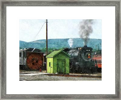 Steam Locomotive Coming Into Train Yard Framed Print by Susan Savad