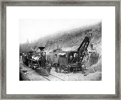 Steam Locomotive And Steam Shovel 1882 Framed Print
