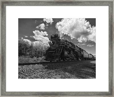 Steam Locomotive Passing Through Framed Print