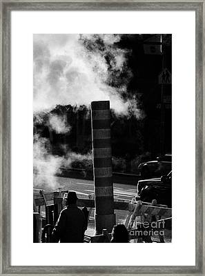 Steam Pipe Vent Stack With Road Works And Pedestrians New York City Framed Print