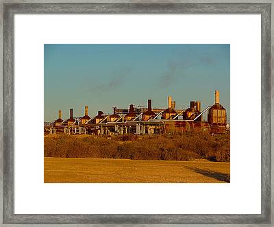 Framed Print featuring the photograph Steam Plant In Cymric Field by Lanita Williams