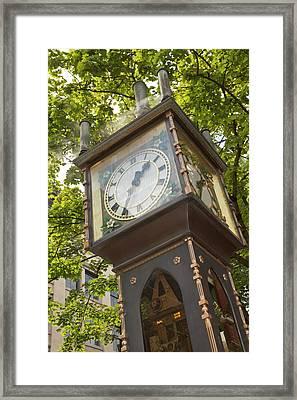 Steam Powered Clock In The Gastown Framed Print by William Sutton