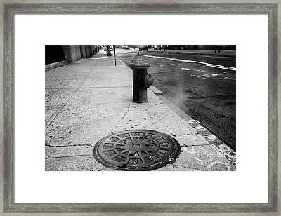 Steam Rising From Dpw Manhole Cover On Sidewalk With Old Fashioned Fire Hydrant New York City Framed Print