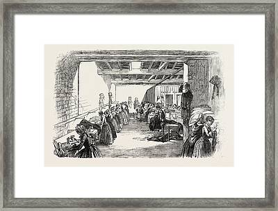 Steam Sewing-machines 1854. A View Of A Portion Framed Print by English School