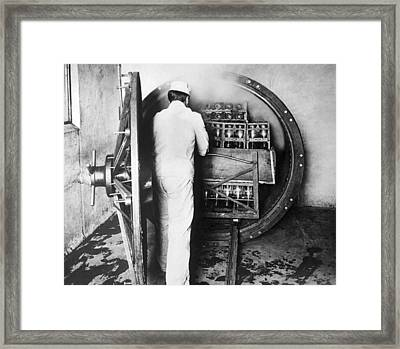 Steam Sterilizing Milk Bottles Framed Print