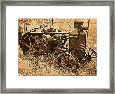 Steam Tractor Framed Print by Leland D Howard